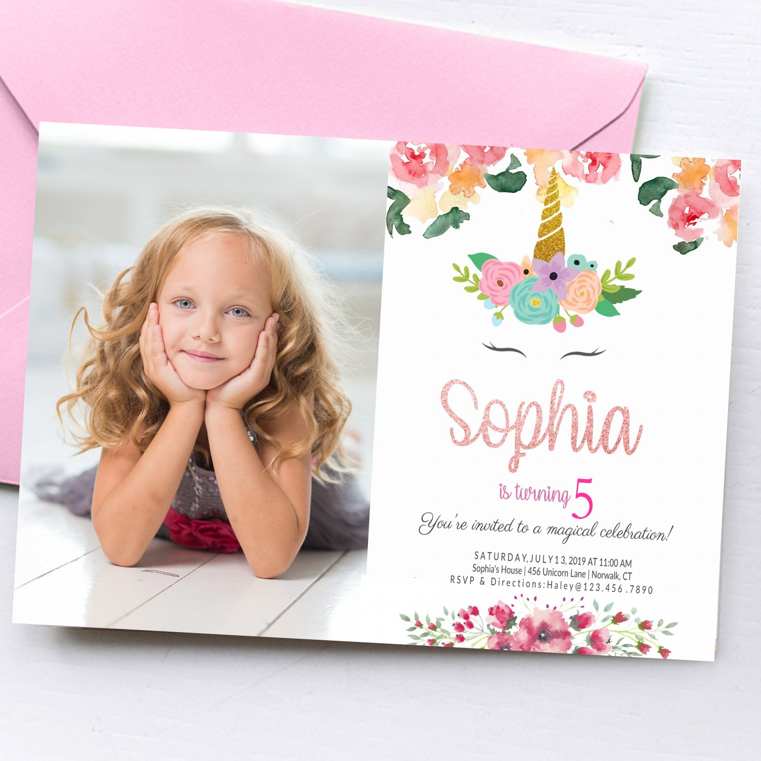 Unicorn Invitation Design 5 with Photo Personalized Digital Printable birthday princess