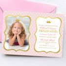 Princess Birthday Invitation Design 1 with photo Printable Digital Gold Pink Elegant