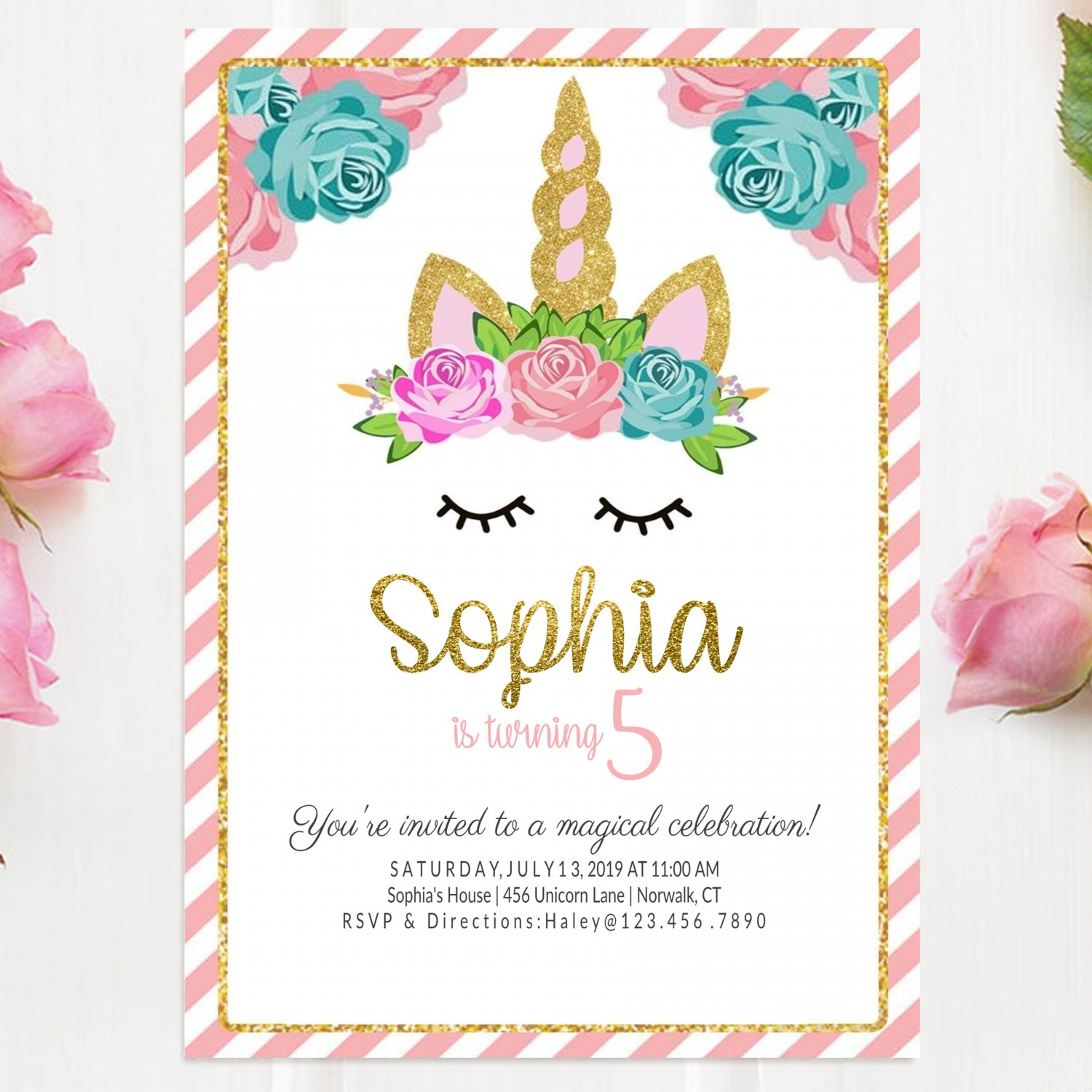 Unicorn Invitation Design 3 Printable Digital princess watercolor glitters birthday