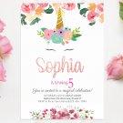 Unicorn Invitation Design 5 Printable Digital watercolor Princess glitters birthday