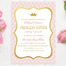 Princess Birthday Invitation Design 1 Printable Digital Personalized Elegant Gold Pink