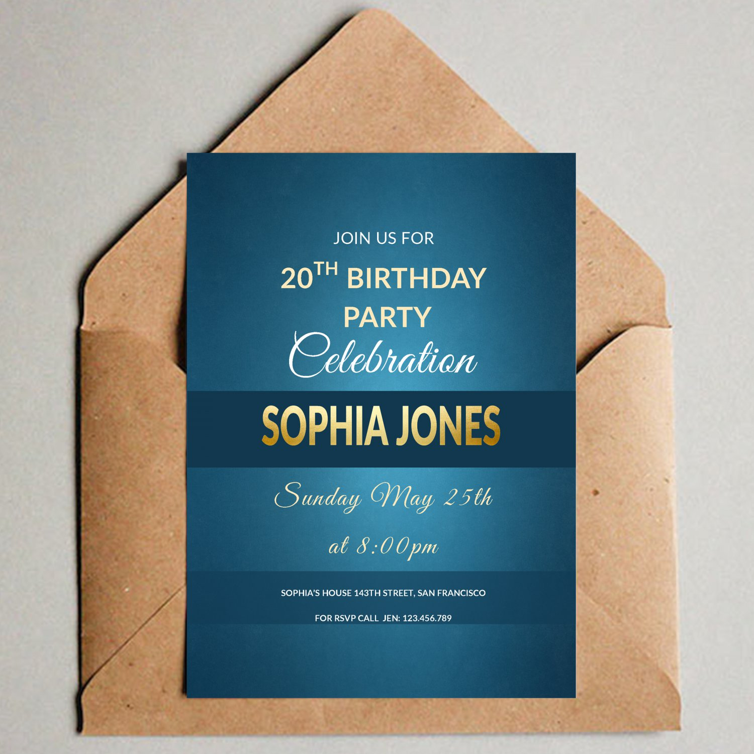 Simple Elegant Blue Birthday Design 1 Invitation Digital Printable Gold Personalized Invite