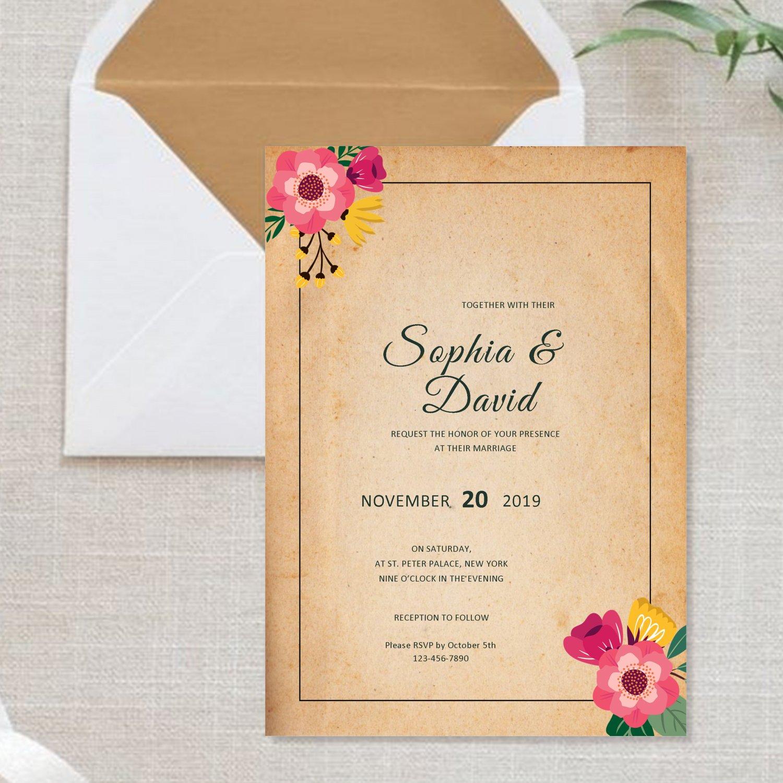 Wedding Invitation Design 3 Rustic Flowers Printable Personalized Elegant