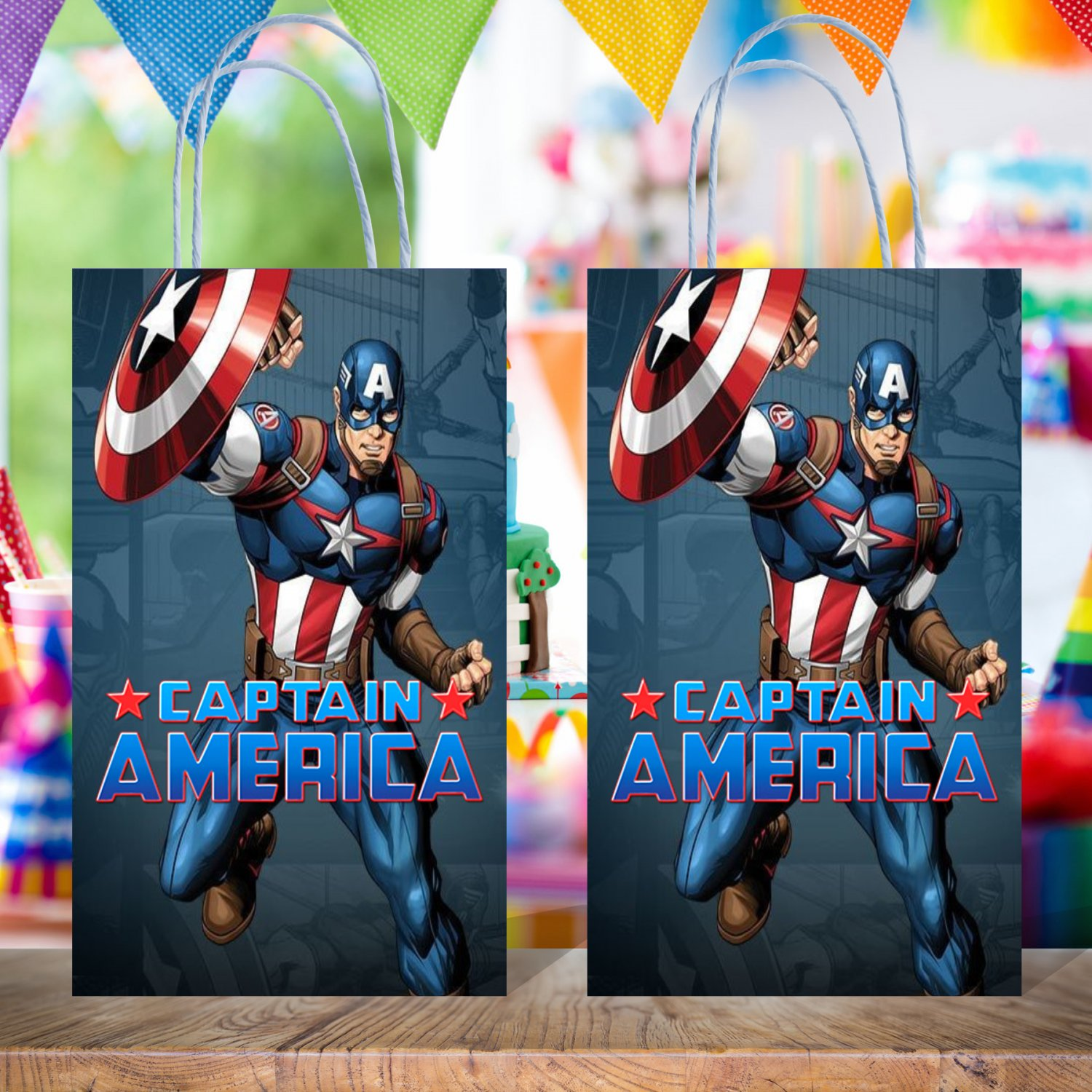 Captain America Avengers Favor Loot Paper Bag Template Printable Digital Instant Download