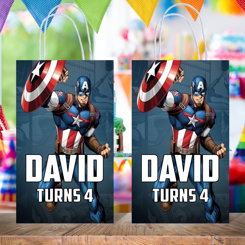 Personalized Captain America Favor Loot Paper Bag Template Printable Digital Custom Superhero