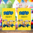 Personalized Minions Favor Loot Paper Bag Template Printable Digital Custom