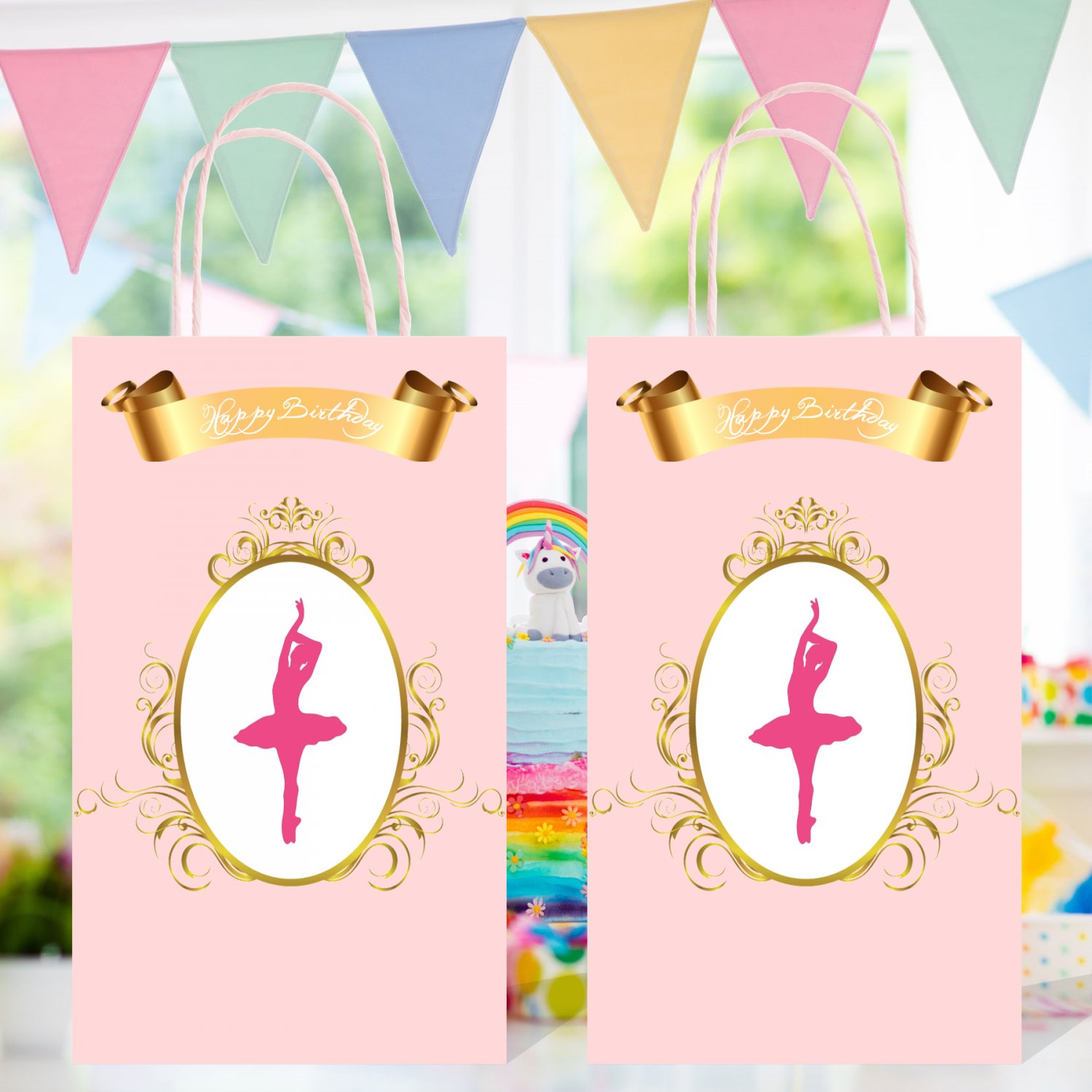 Ballerina Favor Loot Bag Template Printable Digital Instant Download