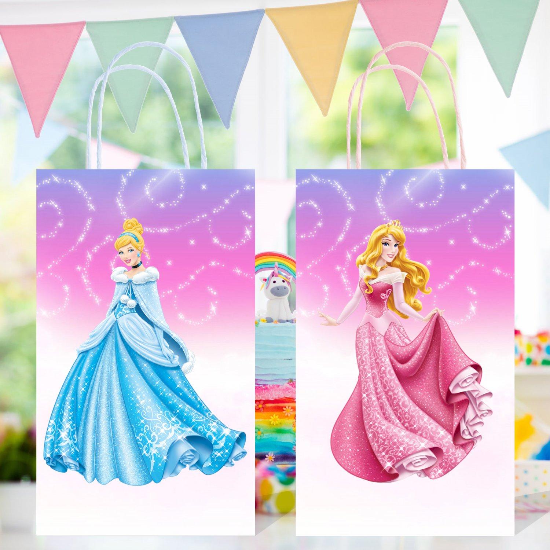 Disney Princesses Favor Loot Paper Bag Template Printable Digital Instant Download Princess