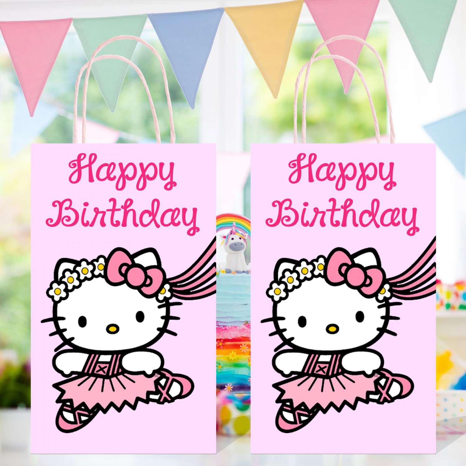 Hello Kitty Favor Loot Paper Bag Template Printable Digital Instant Download