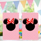 Minnie Mouse Pink Favor Loot Paper Bag Template Printable Digital Instant Download