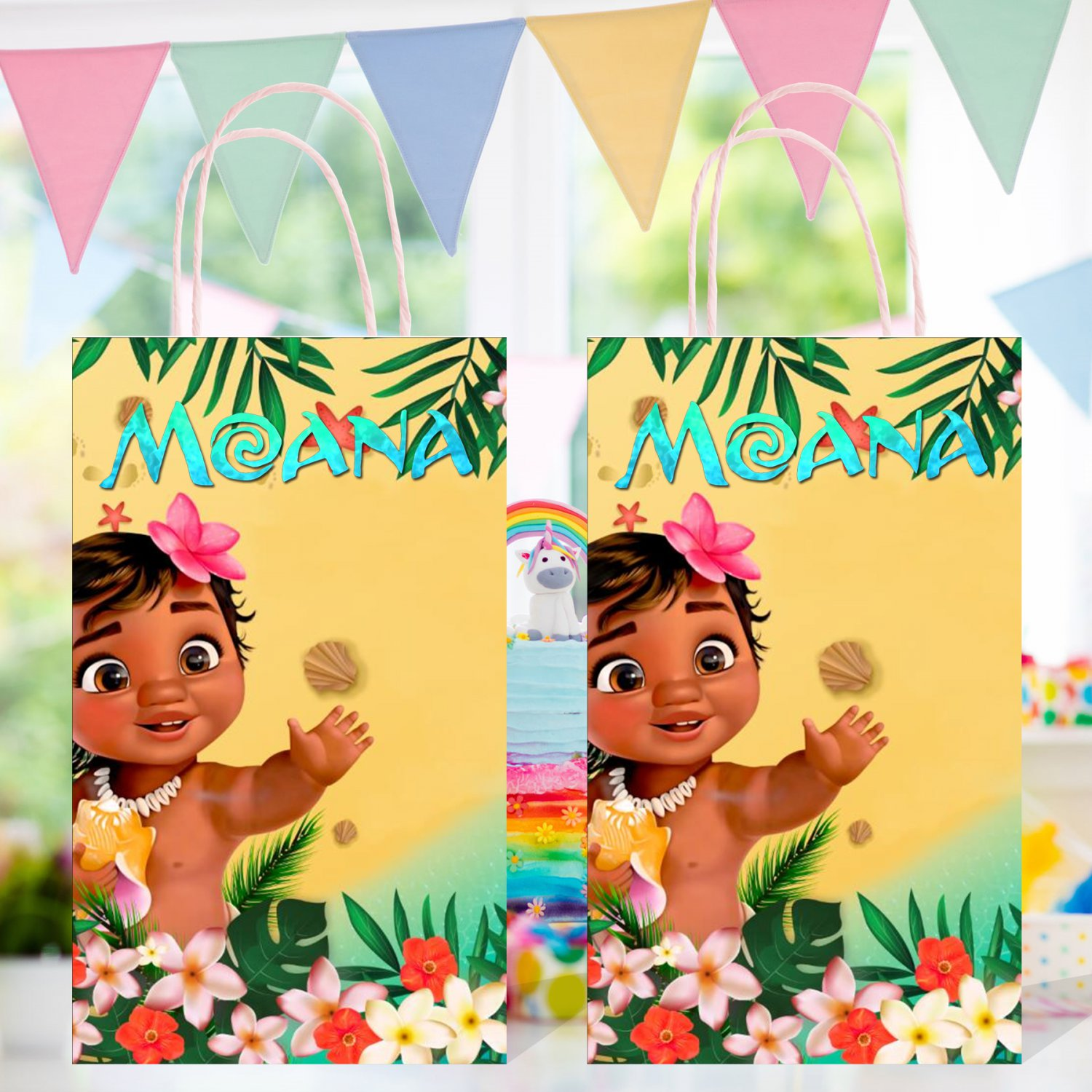 Moana Baby Favor Loot Paper Bag Template Printable Digital Instant Download