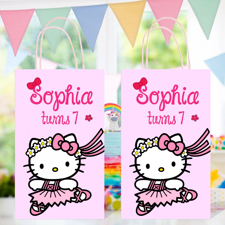 Personalized Hello Kitty Favor Loot Paper Bag Template Printable Digital Custom