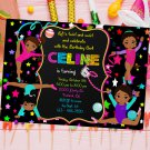 Personalized Gymnast Girl Invitation Design 2 Printable Digital Custom Neon Stars