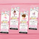 Ballerina Ticket Invitation 4 Designs Variations Printable Digital Princess Pink