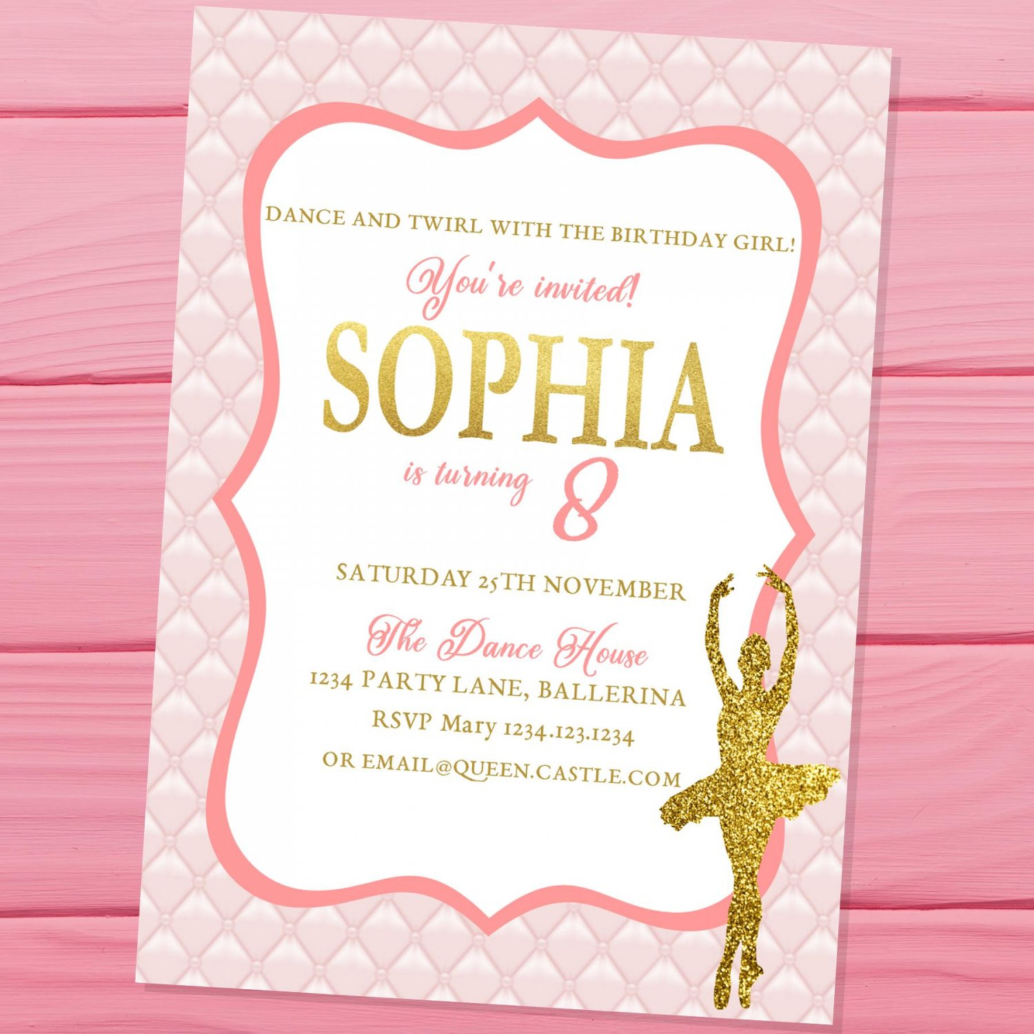 Ballerina Invitation Design 1 Princess Pink Gold Glitters Elegant Classic Ballet Dancer Dance