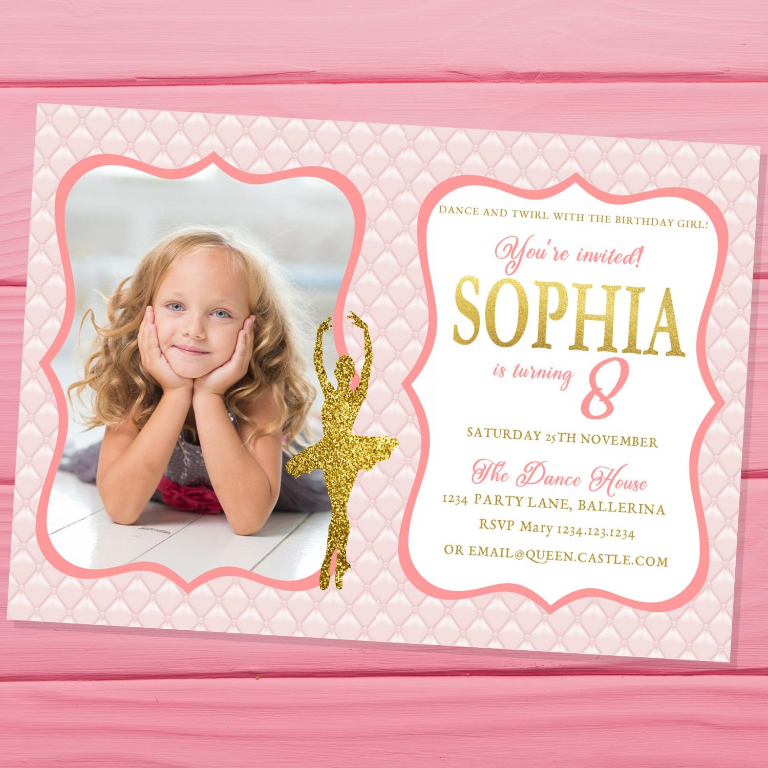Ballerina Invitation Design 1 with Photo Princess Pink Gold Glitters Elegant Ballet