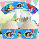 Personalized Ariel Disney Princess Cupcake Wrappers with Photo mermaid ocean sea bubbles fish