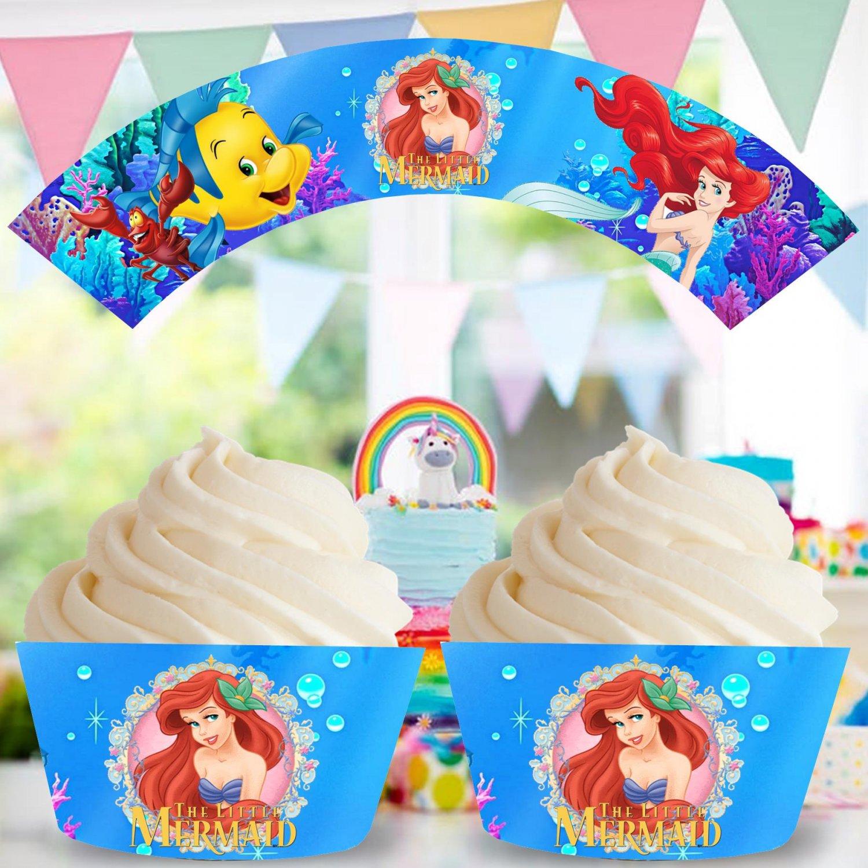 Ariel Disney Princess Cupcake Wrappers Printable Digital Instant Download
