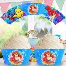 Ariel Disney Princess Cupcake Wrappers Printable Digital Instant Download