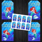 Ariel Disney Princess Favor Tags Instant Download box loot mermaid ocean sea birthday