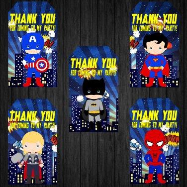 Superhero Design 2 Favor Tags Instant Download Printable