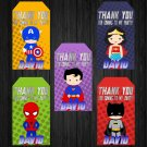 Personalized Superhero Design 1 Favor Tags loot box avenger superhero superheroes birthday