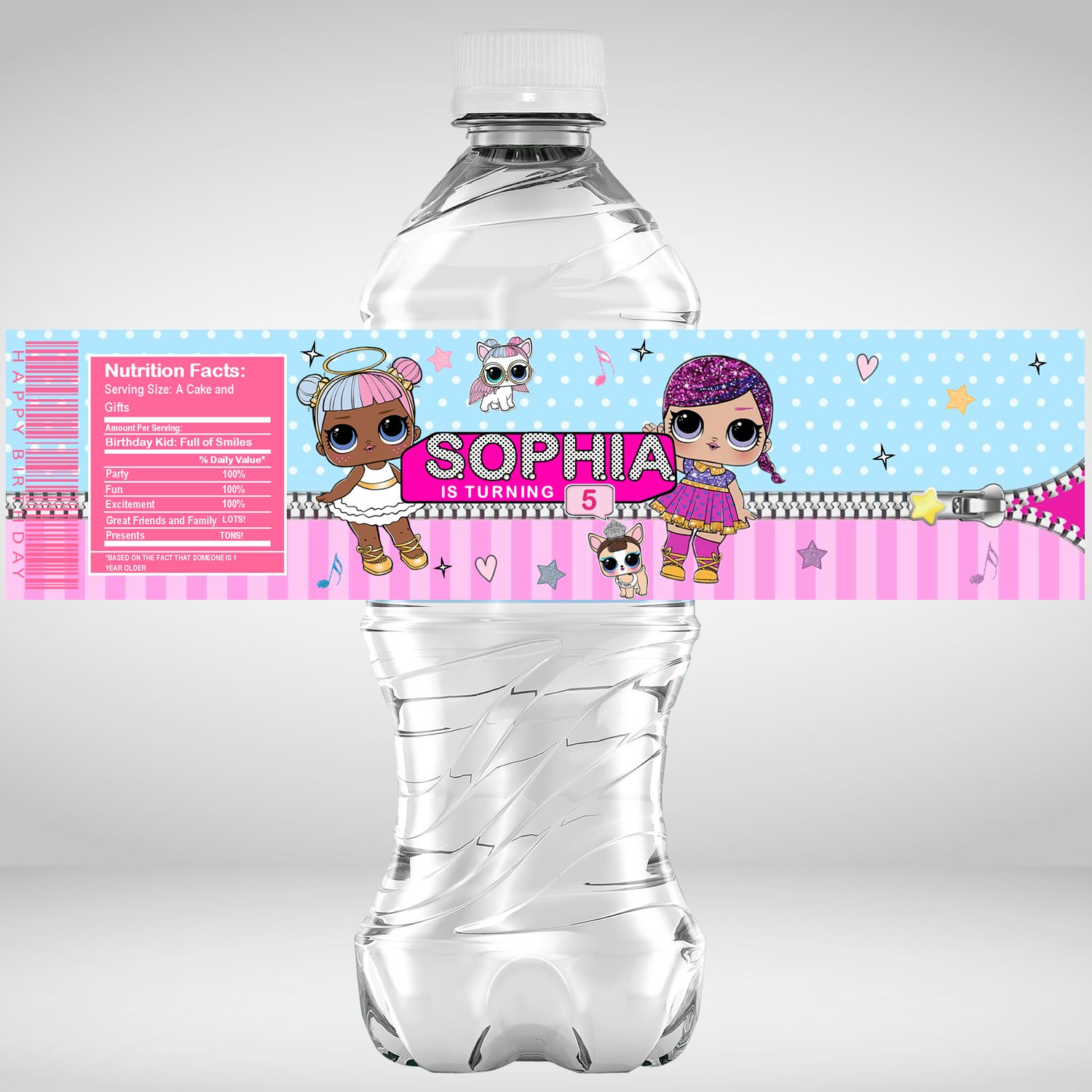 LOL Doll Lolly Bag Gift Tags and Personalized Water Bottle Labels