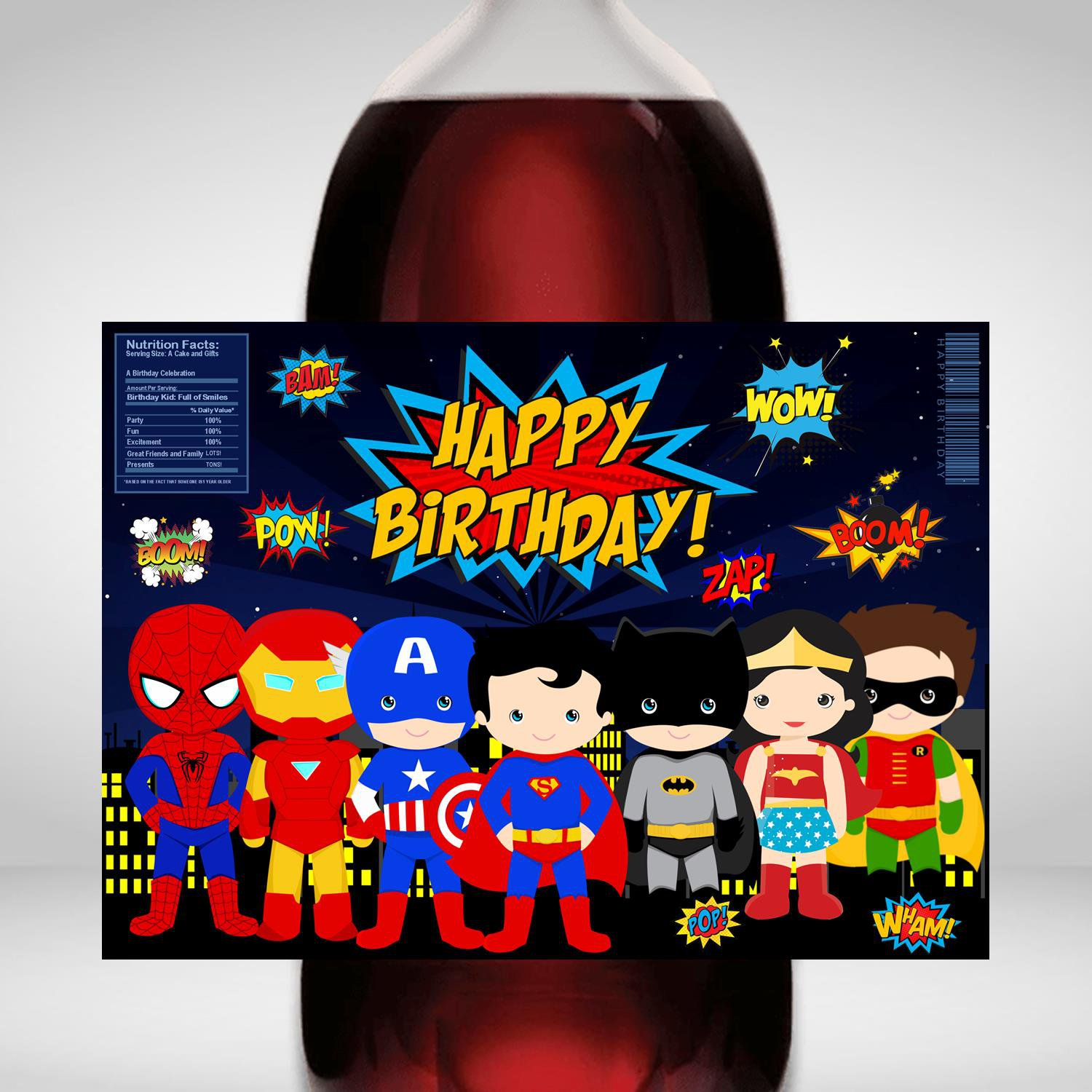 Superhero Design 1 2 Liter Bottle Label Wrapper Digital Instant Download  Printable