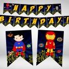 Superhero Comic Birthday Banner Design 2 Instant Download Digital Printable Bunting Avengers Marvel