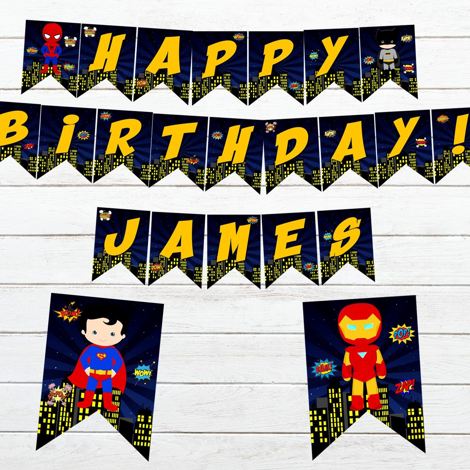 Personalized Superhero Comic Birthday Banner Design 2 Instant Download Digital Printable Avengers