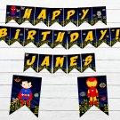 Personalized Superhero Comic Birthday Banner Design 2 Instant Download Digital Printable Avengers