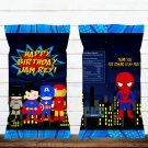 Personalized Superhero Comic D1 Chip Bag Wrapper Digital Printable chips birthday