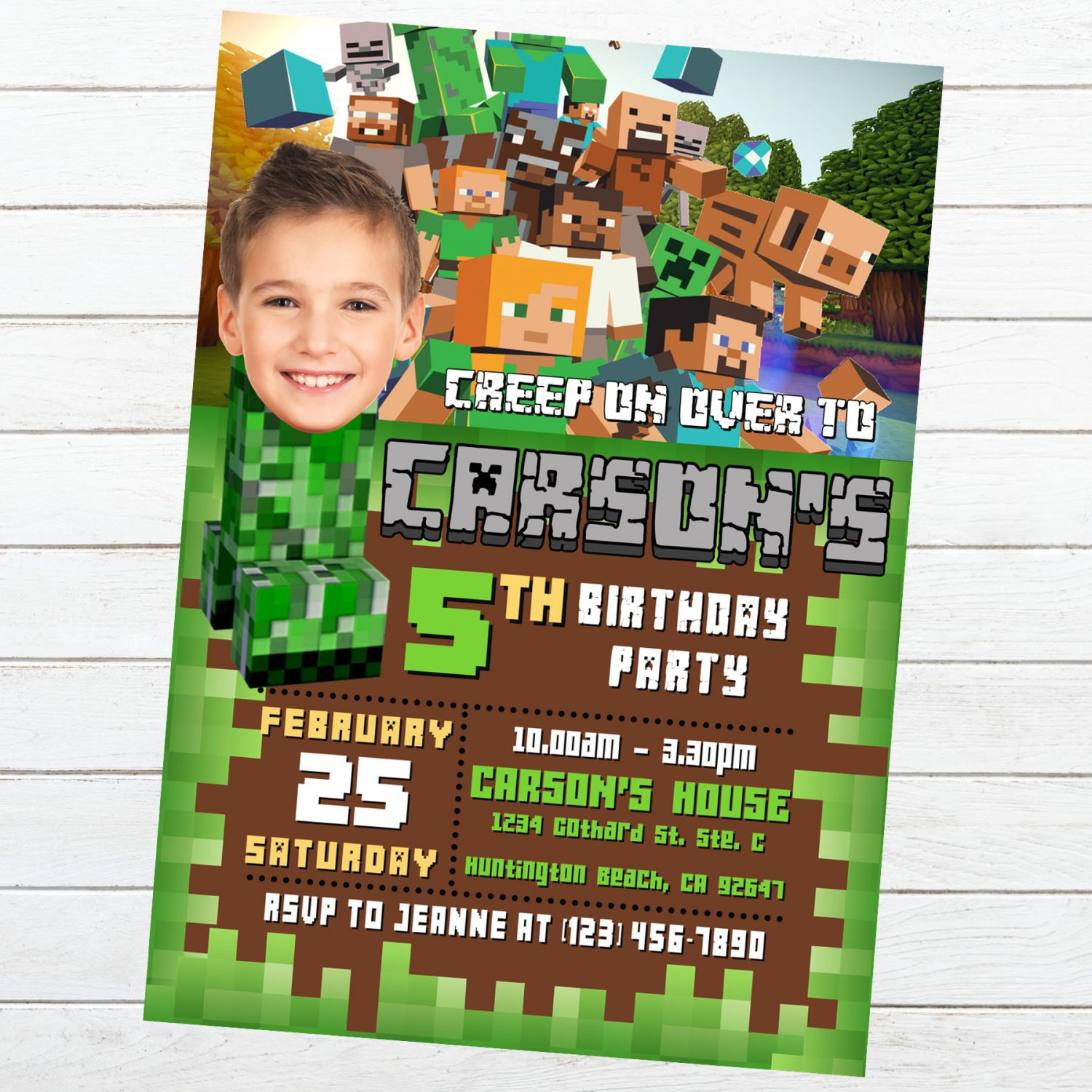 Personalized Mine Invitation Video Game Theme Digital Download Printable Party