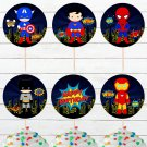 Superhero Cute Comic Cupcake Toppers Digital Printable Dolls Instant Download