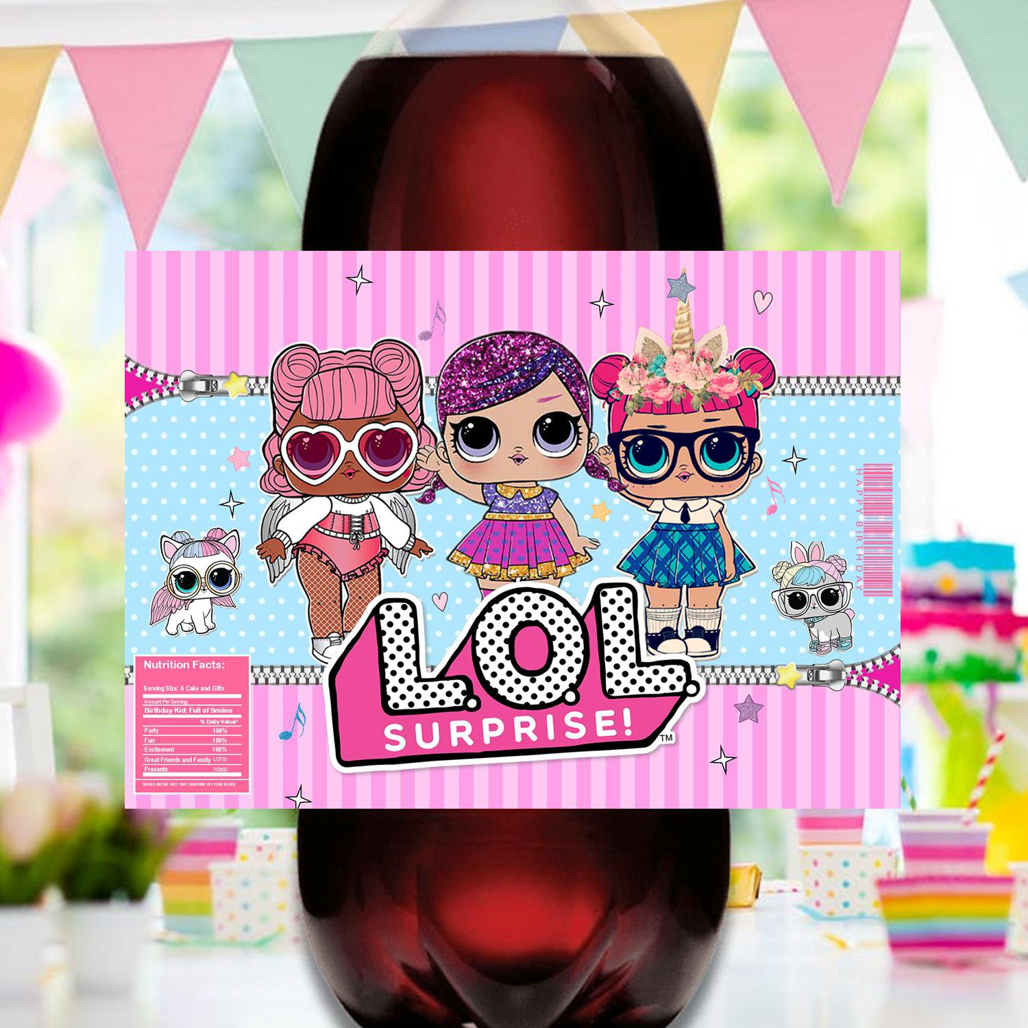 Instant Download 2 Liter Bottle Label Cute Dolls Birthday Party Printable Digital for girls doll