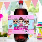 Personalized 2 Liter Bottle Label Cute Dolls Birthday Party Printable Digital for girls doll