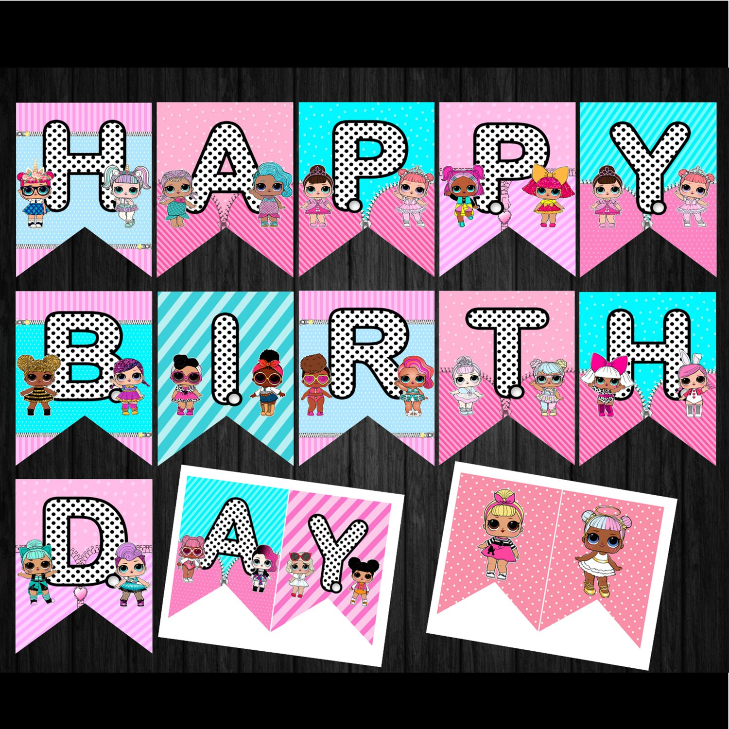 Instant Download Banner Cute Dolls Birthday Party Printable Digital for girls doll banners