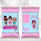 Personalized Chip Bag Wrapper Cute Dolls Birthday Party Printable Digitaldoll wrappers