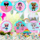 Instant Download Cupcake Toppers Cute Dolls Birthday Party Printable Digital doll topper cake