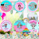 Personalized Cupcake Toppers Cute Dolls Birthday Party Printable Digital doll topper cake