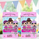 Personalized Favor Paper Bag Cute Dolls Birthday Party Printable Digital doll bags favors