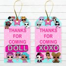 Instant Download Favor Tags Cute Dolls Birthday Party Printable Digital doll tag favors