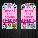 Personalized Favor Tags Cute Dolls Birthday Party Printable Digital doll tag favors
