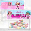 Personalized Treat Bag Toppers Cute Dolls Birthday Party Printable Digital doll bags toppers