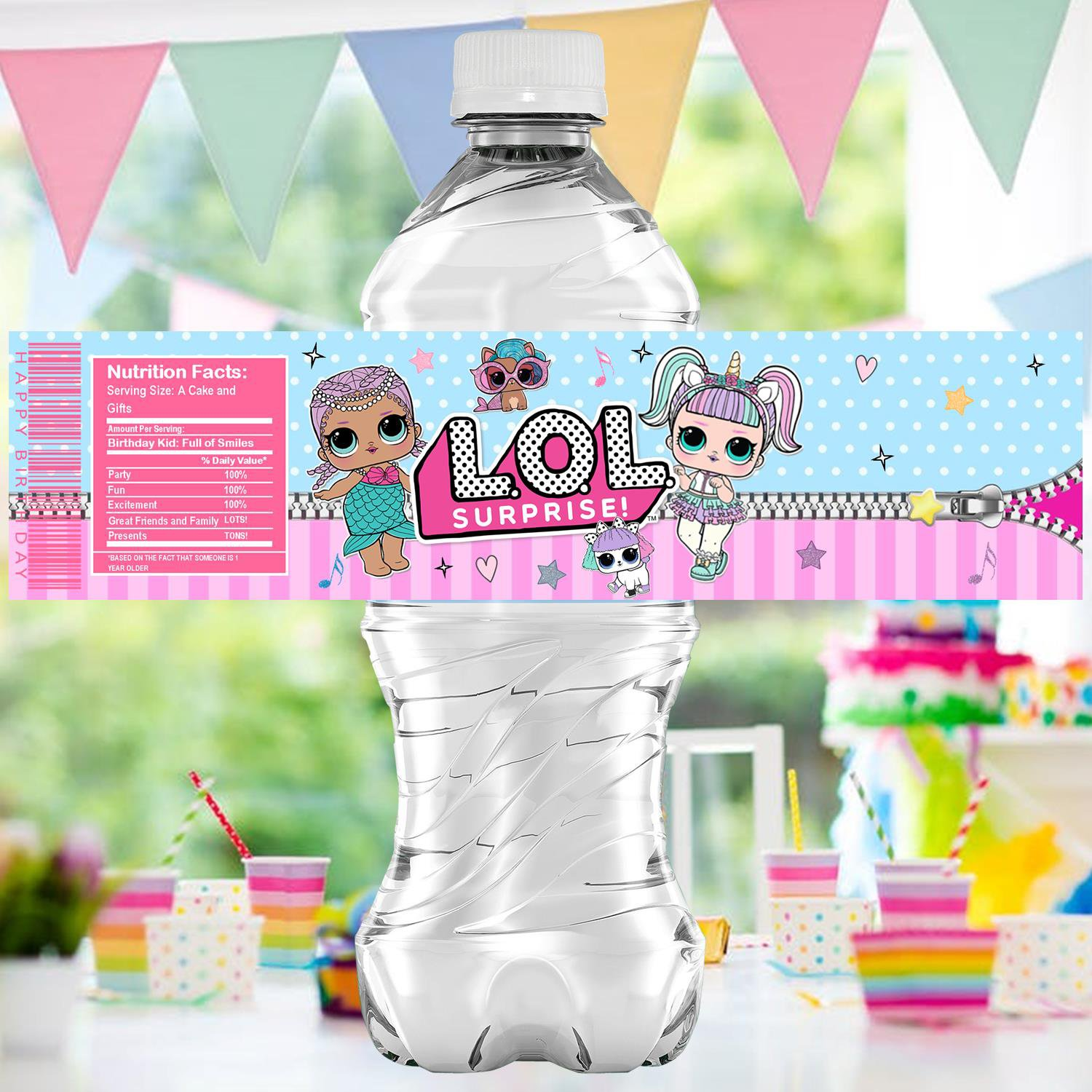 Instant Download Water Labels Cute Dolls Birthday Party Printable Digital doll wrapper label