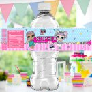 Personalized Water Labels Cute Dolls Birthday Party Printable Digital doll wrapper label