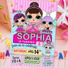 Personalized Invitation Cute Dolls Birthday Party Printable Digital doll custom invite doll