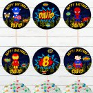 Personalized Superhero Cute Comic Cupcake Toppers Digital Printable Marvel Avengers