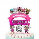 Personalized Cake Topper Cute Dolls Birthday Party Printable Digital custom cupcake doll