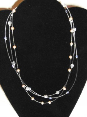 3 Strand Pearl Necklace and Earring Set